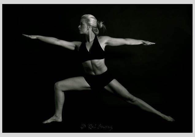 lady in yoga warrior pose